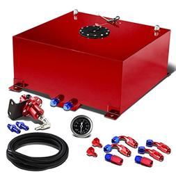"""20-Gallon Red Gas Tank Black Cap+12"""" Fuel Line+Fittings+Red"""