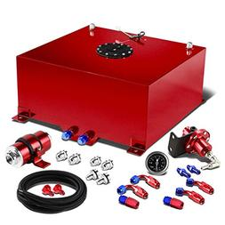 """20-Gallon Red Gas Tank Silver Cap+12"""" Fuel Line+Fittings+Fue"""