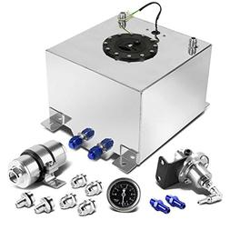 8-Gallon Silver Gas Tank Black Cap+Fuel Pressure Regulator+I