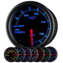 GlowShift Black 7 Color 100 PSI Oil Pressure Gauge Kit - Inc