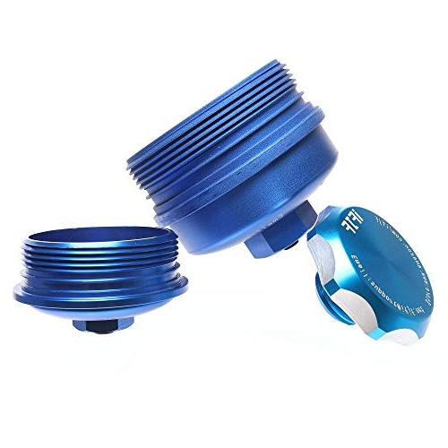 iFJF filter Cap & filter & Fill Cap without O-rings for Ford Powerstroke 6.0L Super Duty Aluminum