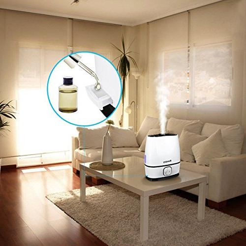 Ultrasonic Cool Humidifier 6L Large Capacity Humidifier for Home Large Bedroom Office Ultra Shut-Off, Oil High Deg. Nozz
